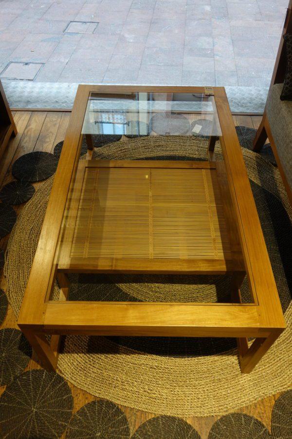 Table basse teck et bambou