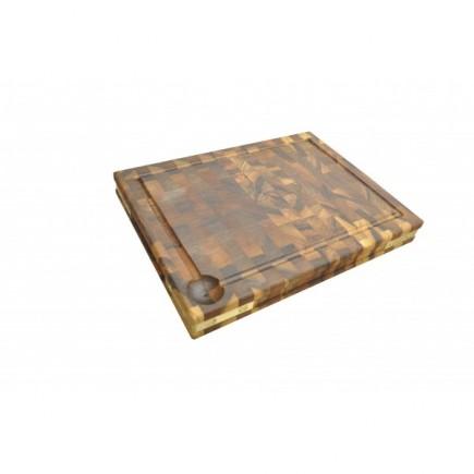 Billot à poser bois 45 cm avec equerres laiton Toulouse boutiques