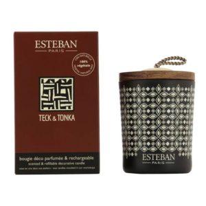 Bougie déco parfumée rechargeable Teck et Tonka Esteban