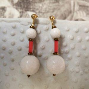 Boucle d'Oreille Corail Blanc 2 Bijoux Atelier114