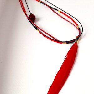 Collier sautoir plume triple rouge boutique bijou toulouse