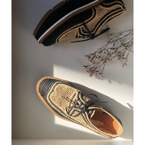 Boutique Derbies Toulouse en raphia acajou CLERGERIE