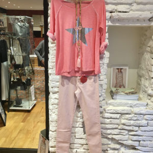 Jean,-tee-shirt,-collier-COC rose doré boutique vetement femme toulouse