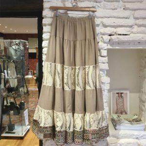 Jupe-Meisie beige dentelle blanche boutique vetement femme toulouse