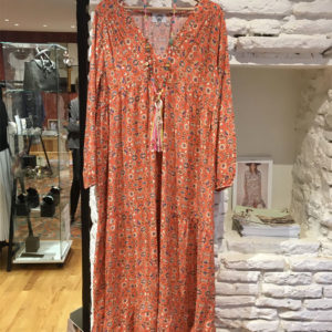 Robe longue orange semi bohemienne boutique vetement femme toulouse