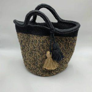 Sac-beige-et-gris-pompon-beige-et-gris boutique maroquinerie toulouse toulouseboutiques