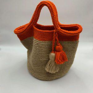 Sac-beige-et-orange-pompon-beige et orange boutique maroquinerie toulouse toulouseboutiques