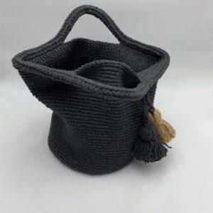 Sac-noir-pompon-beige-et-noir boutique maroquinerie toulouse toulouseboutiques