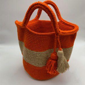 Sac-orange-et-beige-pompon-boutique maroquinerie toulouse toulouseboutiques