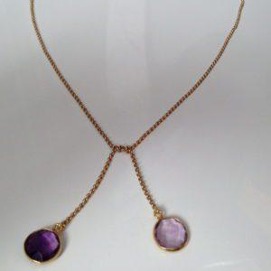 collier demi ras de cou amethyste chaine plaquee or boutique bijou toulouse