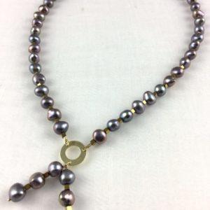 collier demi ras de cou hematite doree ou argent perle de culture eau douce 12mm boutique bijoux toulouse