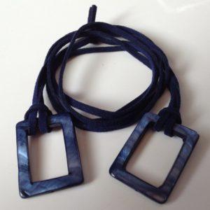 collier demi ras de cou jumping nacre lien suedine bleu boutique bijou toulouse
