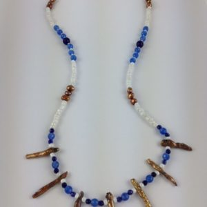 collier demi sautoir pierre fine perles eau douce bleu et dore boutique bijou toulouse