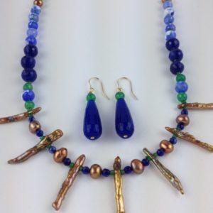 collier demi sautoir pierre fine perles eau douce bleu vert et dore boutique bijou toulouse