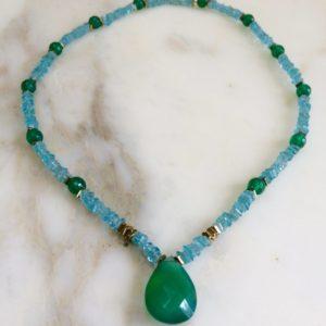 collier ras de cou ApatiteOnyx Vert boutique bijoux Toulouse