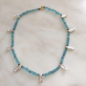 collier ras de cou apatite hematite keshi boutique bijoux toulouse