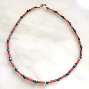 collier ras de cou bambou de mer turquoise boutique bijou toulouse