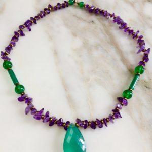collier ras de cou chips améthyste onyx vert boutique bijoux Toulouse