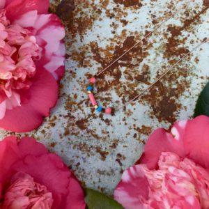 collier ras de cou fil rose bambou de mer turquoise boutique bijoux toulouse
