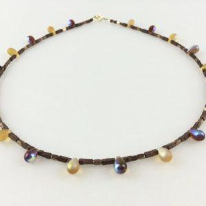 collier ras de cou goutte verre murano hematite bronze boutique bijoux toulouse
