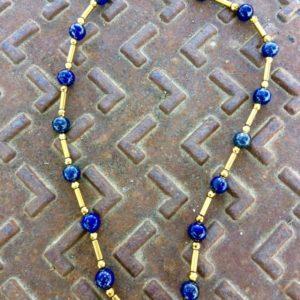 collier ras de cou lapis lazuli hematite doree boutique bijoux toulouse