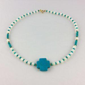 collier ras de cou nacre croix magnesite rondelle turquoise hematite doree boutique bijou toulouse
