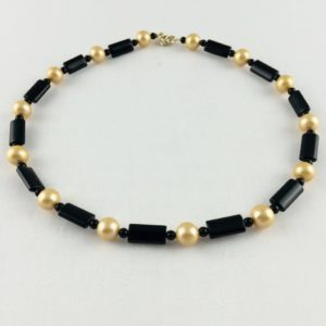 collier ras de cou onyx et perle culture 10mm boutique bijou toulouse