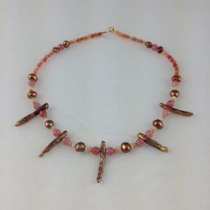 collier ras de cou perle culture agate bois opale rose boutique bijoux toulouse