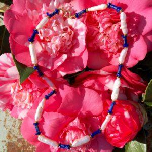 collier ras de cou perle culture lapis lazuli hematite dorée boutique bijou toulouse