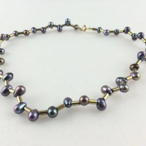 collier ras de cou perle de culture cylindre hématite or pale zigzag boutique bijoux toulouse