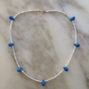 collier ras de cou perle de culture turquoise reconstituee boutique bijou toulouse
