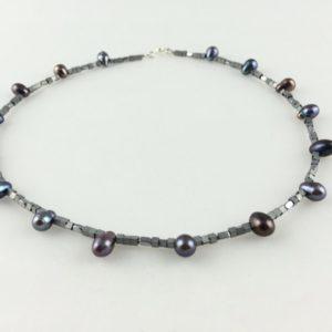 collier ras de cou perle hematite argent boutique bijoux toulouse