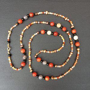 collier sautoir cornaline onyx agate perle eau douce 115cm boutique bijou toulouse