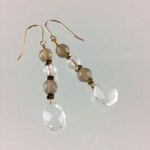 Boucles d'oreilles Poupoupidou Cristal de roche cristal agate bijoux Toulouse