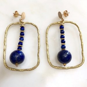 Boucles d'oreilles carré lapis lazuli