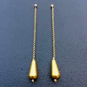 Boucles d'oreilles hématite dorée