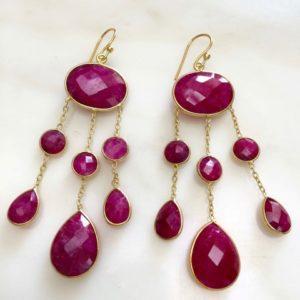 Boucles d'oreilles racine de rubis