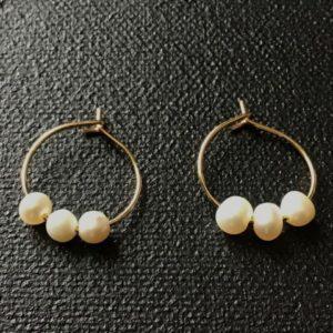 Boucles d'oreilles trio de perle de culture