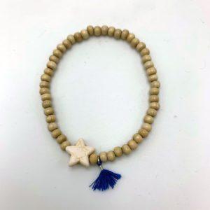 Bracelet-étoile-beige-pompon-bleu magasin mode toulouse