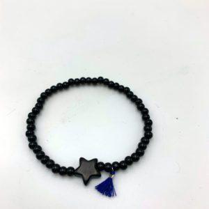 Bracelet-étoile-noir-pompon-bleu magasin mode toulouse