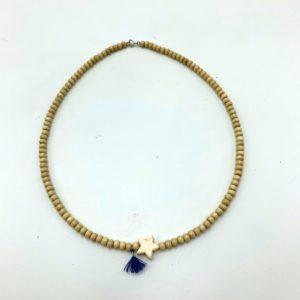 Collier-étoile-beige-perles-bois-pompon-bleu Toulouse bijoux