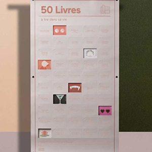 DOIY Poster 50 Livres à Lire dans sa Vie 50 Cases à Ouvrir