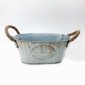 Pot en métal avec poignée en corde jardinerie toulouse