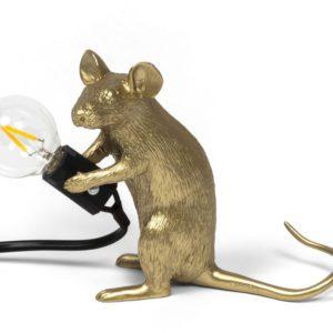 Seletti - lampe souris dorée assise