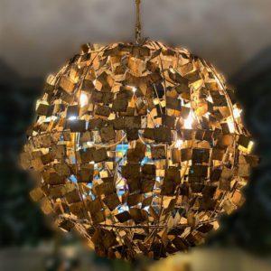 Gros lustre rond doré Toulouse luminaire