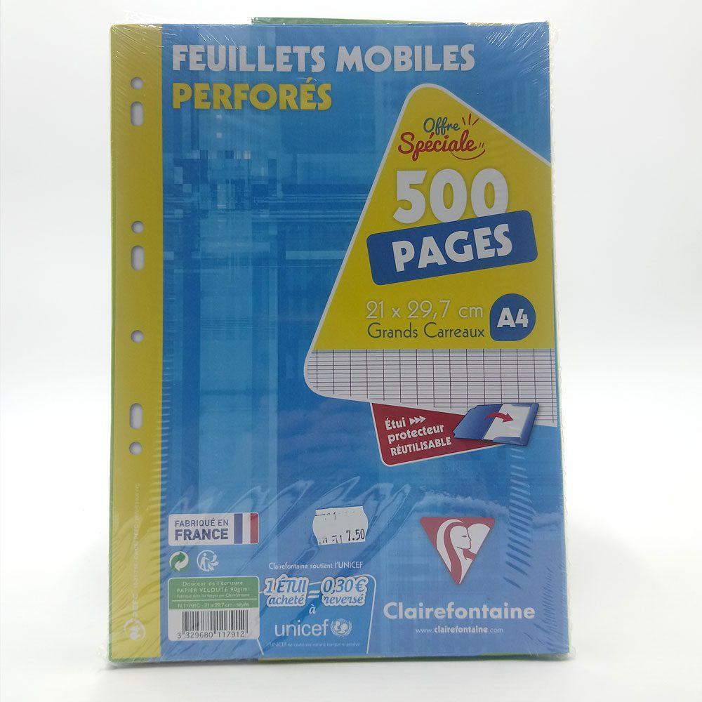Feuilles mobiles perforées Clairfontaine 500 grands carreaux papeterie Toulouse