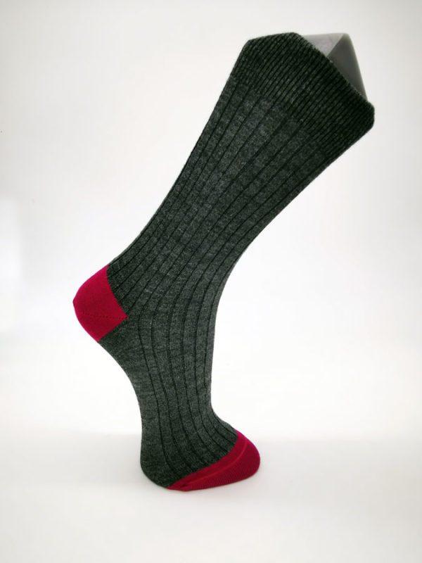 Chaussettes Molière anthracite-fushia Berthe aux grands pieds