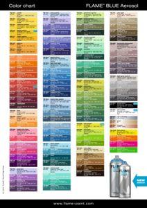 Bombe de peinture acrylique Flame Blue 400ml color chart