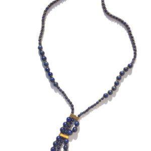 Collier Oeil Lapis Lazuli Hématite Fermoir aimant Bijoux Atelier114 Toulouse