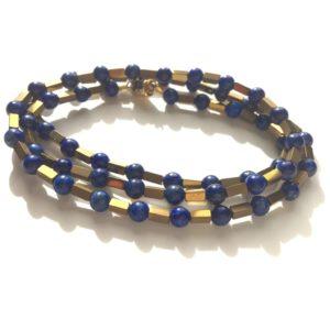 Bracelet triple ou Collier fermoir aimant Lapis Lazuli Bijoux Atelier114 Toulouse